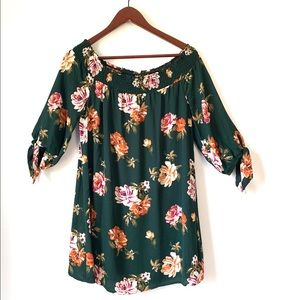 Beautiful Green off the shoulder floral dress